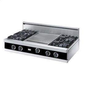"""Black 42"""" Open Burner Rangetop - VGRT (42"""" wide, four burners 18"""" wide griddle/simmer plate)"""
