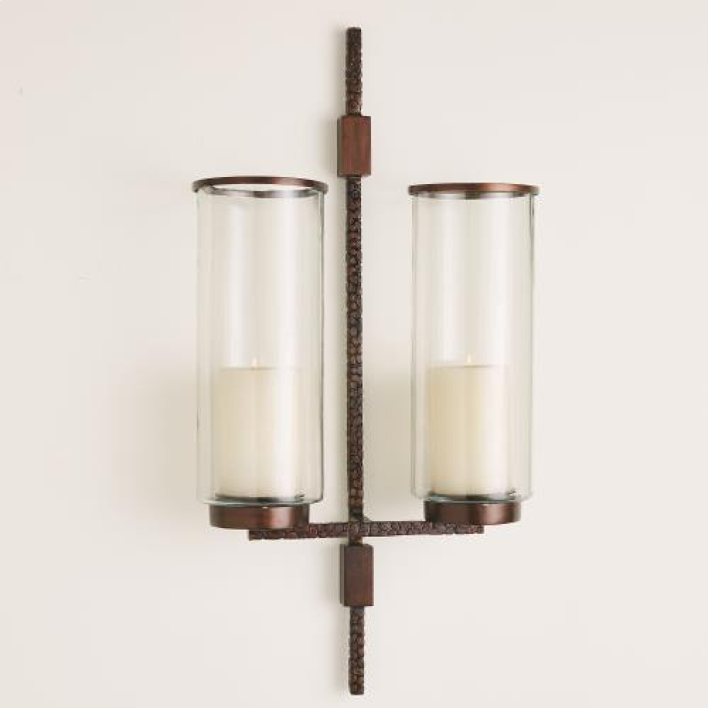 Hammered Double Sconce-Bronze