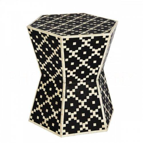 Digital Hourglass Hexagon Side Table/Stool