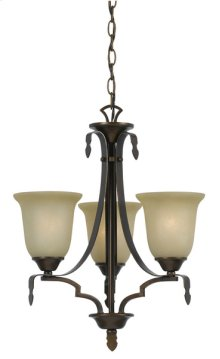 60W X 3 DABOIS HAND FORGED IRON 3 LIGHT CHANDELIER WITH GLASS SHADES