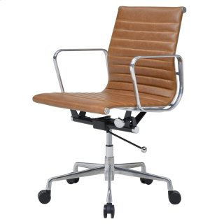 Langley PU Low Back Office Chair, Vintage Tawny