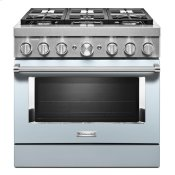 KitchenAid® 36'' Smart Commercial-Style Dual Fuel Range with 6 Burners - Misty Blue