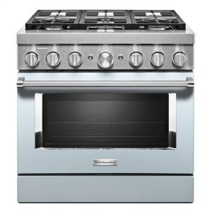 KitchenAidKitchenAid® 36'' Smart Commercial-Style Dual Fuel Range with 6 Burners - Misty Blue