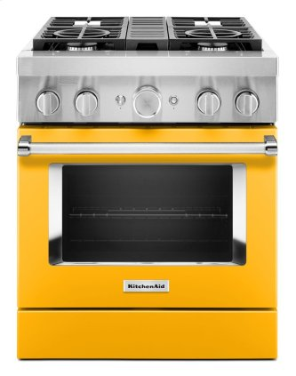 KitchenAid™ 30'' Smart Commercial-Style Dual Fuel Range with 4 Burners - Yellow Pepper