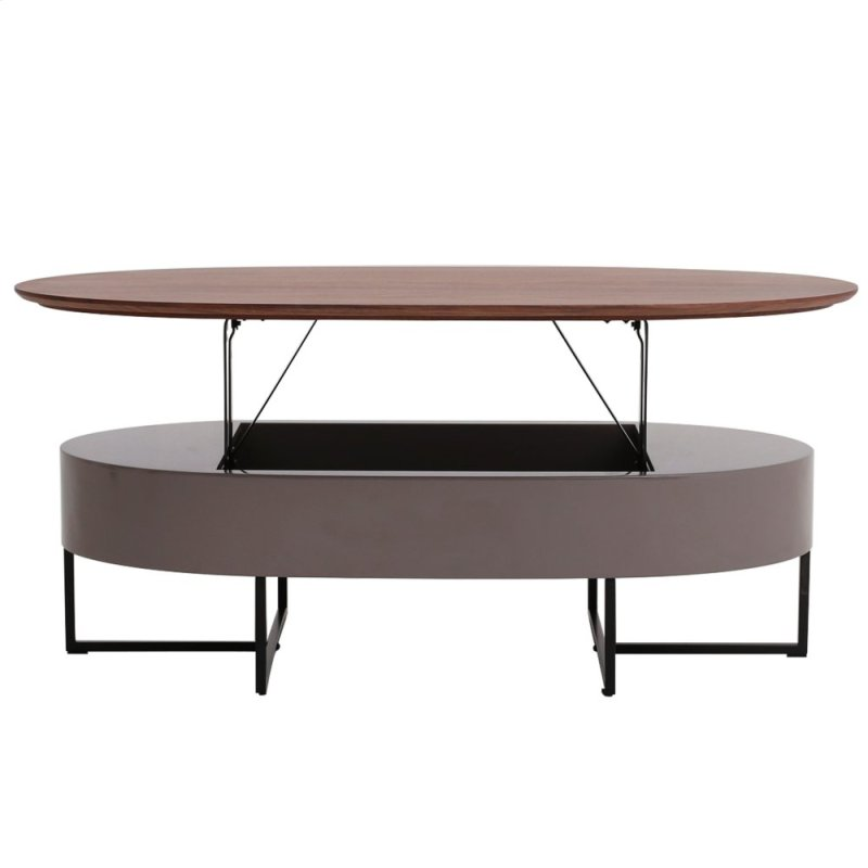 Hansel Kd Lift Top Oval Coffee Table W Storage Walnut Gray