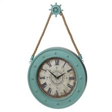 Aqua Compass Clock with Ship Wheel Hook.