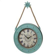 Aqua Compass Clock with Ship Wheel Hook.