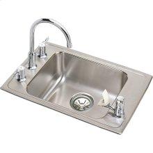 "Elkay Lustertone Classic Stainless Steel 22"" x 19-1/2"" x 4"", Single Bowl Drop-in Classroom ADA Sink Kit"