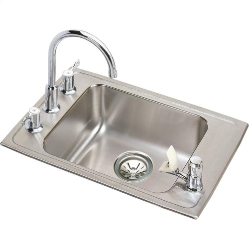 "Elkay Lustertone Classic Stainless Steel 22"" x 19-1/2"" x 5"", Single Bowl Drop-in Classroom ADA Sink Kit"