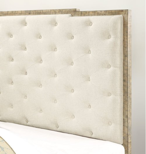 Emerald Home Interlude Queen Tufted Upholstered Bed Kit White Linen B560-13-k