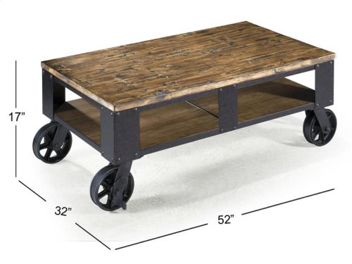 Rectangular Cocktail Table (2 Braking Casters)