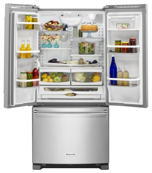 22 Cu. Ft. 33-Inch Width Standard Depth French Door Refrigerator with Interior Dispense - Stainless Steel