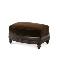 Leather/Fabric Chair Ottoman - Opt1