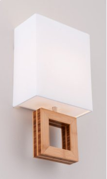 FLUORESCENT BOUTIQUE ARCADIA DOUBLE SCONCE - BRUSHED ALUMINUM/BAMBOO