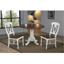 """DLU-ADW4242-C50-AW3PC  3 Piece 42"""" Round Drop Leaf Dining Set  Antique White with Chestnut Top  with Napoleon Chairs"""