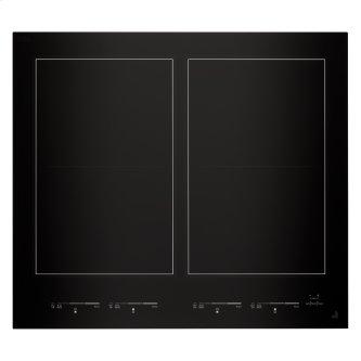"""24"""" Oblivion Glass Induction Flex Cooktop, Floating Glass Black"""
