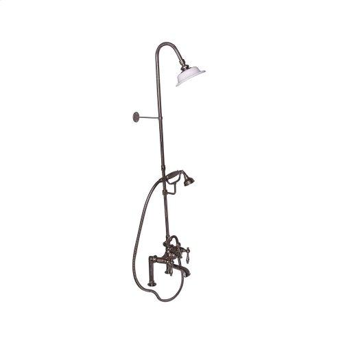 Tub Filler with Diverter Hand-Held Shower and Riser - Metal Lever Handles - Polished Nickel
