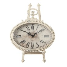 Distressed Ivory Oval Pocket Watch Clock on Stand set/2.