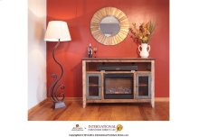 Fireplace & TV-Stand w/2 iron mesh doors & space for soundbar system the heater is included