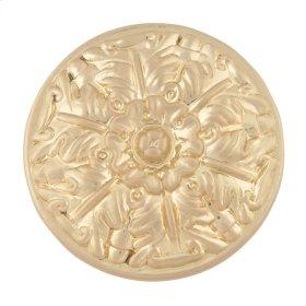 Hammered Medallion Knob 1 1/2 Inch - Satin Brass