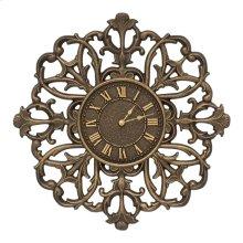 "Filigree Silhouette 21"" Indoor Outdoor Wall Clock - Aged Bronze"