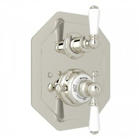 Polished Nickel Perrin & Rowe Edwardian Octagonal Concealed Thermostatic Trim With Volume Control with Metal Lever