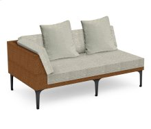"67"" Tan Rattan Right Two-Seat Sofa Sectional, Upholstered in Standard Outdoor Fabric"