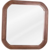 "26"" x 26"" Walnut reed-frame mirror with beveled glass"