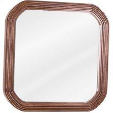 "26"" x 26"" Walnut reed-frame mirror with beveled glass"