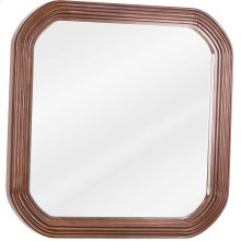 """26"""" x 26"""" Reed-frame mirror with beveled glass and Walnut finish."""