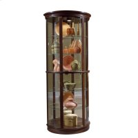 Half Round 5 Shelf Curio Cabinet in Deep Heritage Brown Product Image