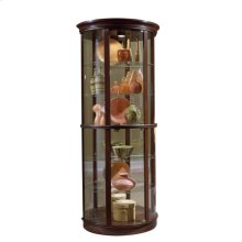 Half Round 5 Shelf Curio Cabinet in Deep Heritage Brown