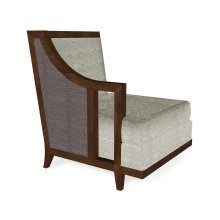 """29"""" Walnut & Dark Grey Rattan Right One-Seat Sofa Sectional, Upholstered in Standard Outdoor Fabric"""