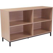 "Dudley 4 Shelf 29.5""H Open Bookcase Storage in Oak Wood Grain Finish"