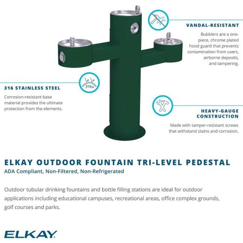 Elkay Outdoor Fountain Tri-Level Pedestal Non-Filtered, Non-Refrigerated