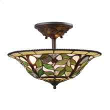 Latham 3-Light Semi Flush in Tiffany Bronze with Tiffany Style Glass