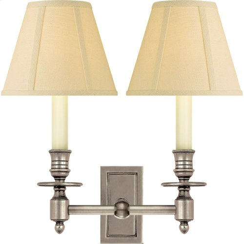Visual Comfort S2212AN-T Studio French 2 Light 12 inch Antique Nickel Decorative Wall Light in Tissue Silk