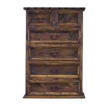 Pine 6 Drawer Chest W/ Rope Medio