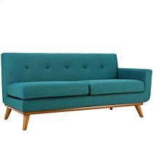 Engage Left-Arm Upholstered Fabric Loveseat in Teal