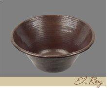 Solid Copper Large Round Lavatory - Light Hammertone Pattern - Dark