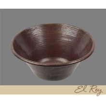 Solid Copper Large Round Lavatory - Light Hammertone Pattern - Dark