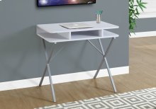 "COMPUTER DESK - 31""L / WHITE TOP / SILVER METAL"