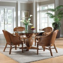 Havana Palm Indoor 5 PC Rattan & Wicker Dining Set with cushions