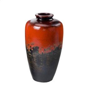 Antiqued Red -Black Cigar Jar