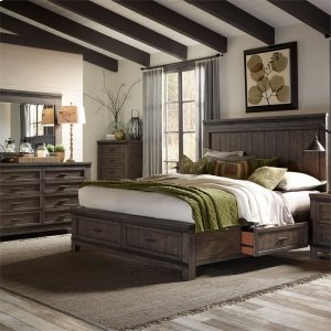 Liberty Furniture Industries Queen Two Sided Storage Bed, Dresser & Mirror, Chest