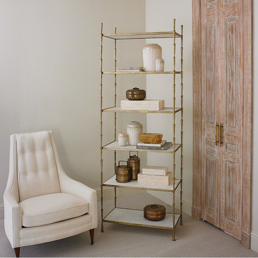 Spike Etagere-Antique Brass w/White Marble
