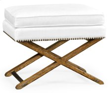 Rectangular Light Brown Chestnut Stool, Upholstered in COM