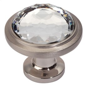 Legacy Crystal Round Knob 1 5/16 Inch - Brushed Nickel