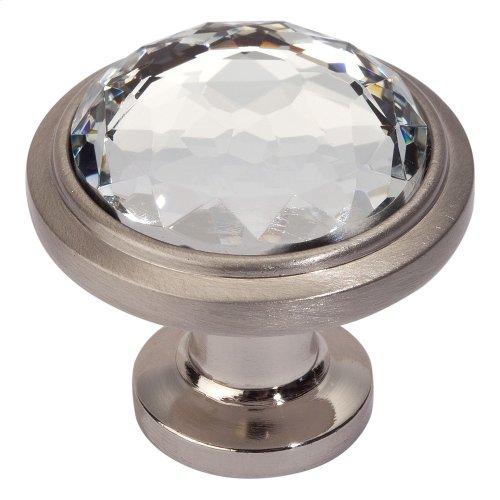 Legacy Crystal Round Knob 1 5/16 Inch - Brushed Nickel