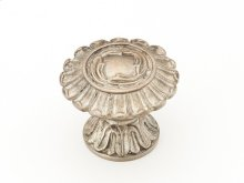 """Solid Brass, Symphony, Swans, Round Knob, 1-1/2"""" diameter, Monticello SIlver finish"""